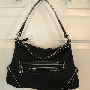 Vera Bradley Black Silver Microfiber Tote Bag